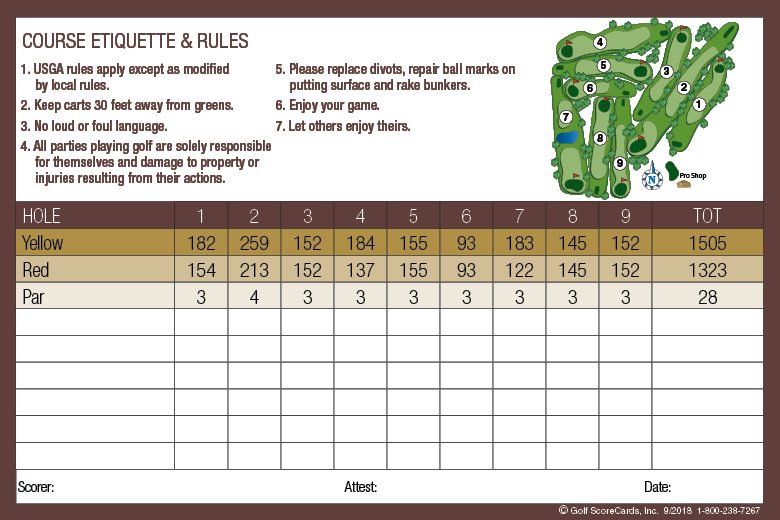 Indian Camp Golf Course Scorecard